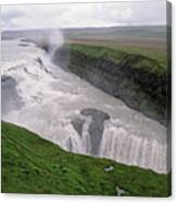 Gullfoss A Powerful Waterfall In The Canyon Of The Hvita River Canvas Print