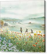 Gulls Over Flowers At The Bay Canvas Print