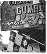 Gumbo Sign - Black And White Canvas Print