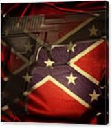 Gun And Confederate Flag Canvas Print