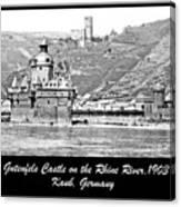 Gutenfels Castle On The Rhine, Kaub, Germany, 1903, Vintage Phot Canvas Print