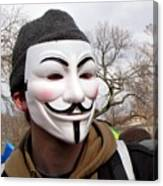 Guy Fawkes Mask At Political Demonstration Canvas Print