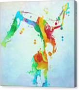 Gymnast Watercolor Paint Splatter Canvas Print