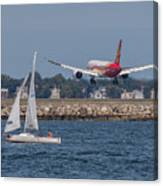 Hainan Airlines 787 Dreamliner Landing At Logan Canvas Print