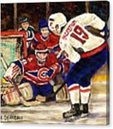 Halak Blocks Backstrom In Stanley Cup Playoffs 2010 Canvas Print