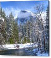 Half Dome And The Merced River Canvas Print