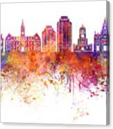 Halifax V2 Skyline In Watercolor Background Canvas Print