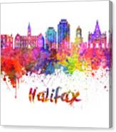 Halifax V2 Skyline In Watercolor Splatters With Clipping Path Canvas Print