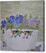Hall China Crocus Bowl With Violets Canvas Print