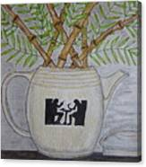 Hall China Silhouette Pitcher With Bamboo Canvas Print