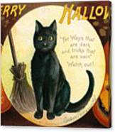 Halloween Greetings With Black Cat And Carved Pumpkins Canvas Print