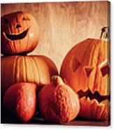 Halloween Pumpkins, Carved Jack-o-lantern. Canvas Print
