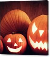 Halloween Pumpkins Glowing, Jack-o-lantern Canvas Print