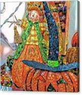 Halloween Scarecrow And Pumpkin Pa 02 Vertical Canvas Print