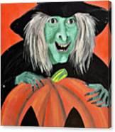 Halloween Witch And Pumpkin Art Canvas Print