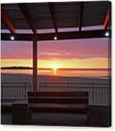 Hampton Beach Sunrise Hampton Beach State Park Hampton Nh Bench 2 Canvas Print