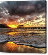 Hanalei Pier Reflections Canvas Print