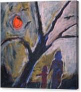 Hand In Hand Walk Under The Moon Canvas Print
