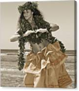 Hand Colored Hula Canvas Print
