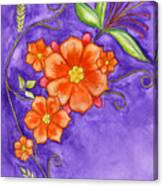 Hand Drawn Pencil And Watercolour Flowers In Orange And Purple Canvas Print