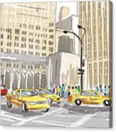 Hand Drawn Sketch Of A Busy New York City Street Canvas Print