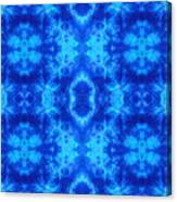 Hand-dyed Blue And Turquoise Fabric With Zig Zag Stitch Details  Canvas Print