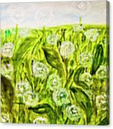 Hand Painted Picture, Meadow With White Dandelines Canvas Print