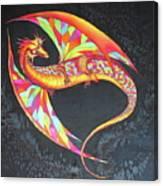 Hand Painted Silk Scarf Dragon On Black Canvas Print