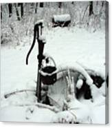 Hand Pump In The Winter Canvas Print