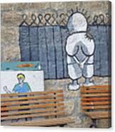 Handala And The Wall Canvas Print
