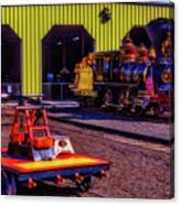 Handcar And Old Train Canvas Print