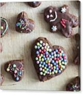 Handmade Decorated Gingerbread Heart And People Figures Canvas Print