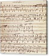 Handwritten Score For Waltz For Piano, Opus 39 Canvas Print