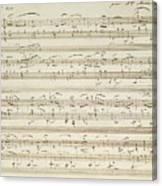 Handwritten Score For Waltz In Flat Major Canvas Print