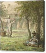 Hanging Out The Laundry By Jean-francois Millet Canvas Print