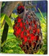 Hanging Red Bottle Garden Art Canvas Print