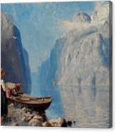 Hans Dah,  B. 1849. D. 1937. Norwegian Girl By The Sea Canvas Print
