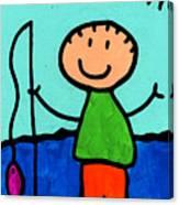 Happi Arte 2 - Boy Fish Art Canvas Print