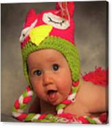 Happy Baby In A Woollen Hat Canvas Print