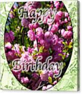 Happy Birthday - Greeting Card - Almond Blossoms No. 2 Canvas Print