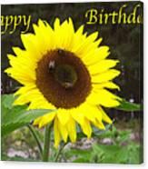 Happy Birthday - Greeting Card - Sunflower Canvas Print