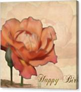 Happy Birthday Peach Rose Card Canvas Print