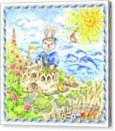 Happy Bunny Building Castle Canvas Print