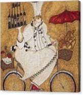 Happy Chef On The Bike Canvas Print