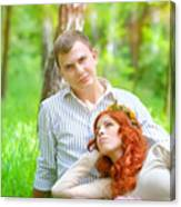 Happy Couple In A Park Canvas Print