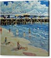Happy Day At Santa Monica Beach And Pier Canvas Print