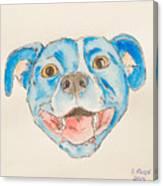 Happy Dog Blue Canvas Print