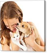 Happy Girl With Kitten And Affectionate Puppy Canvas Print