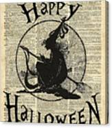 Happy Halloween Witch With Broom Dictionary Artwork Canvas Print