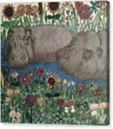 Happy Hippos Canvas Print